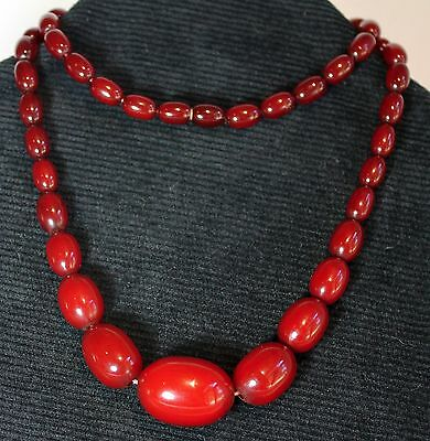 Vintage Deco Graduated Cherry Amber Bead Necklace Hidden Closure