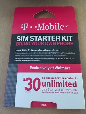 T-Mobile Prepaid - SIM Starter Kit w/ $30 of Service Unlimited Data/Text 3in1
