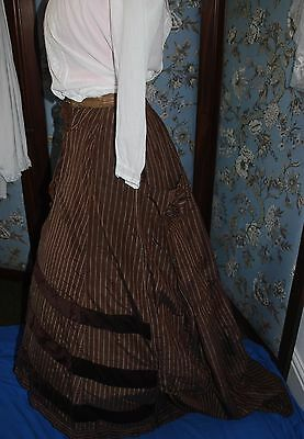 Beautiful Antique Victorian Silk Taffeta Fabric Bustle Skirt For Minor TLC SMALL