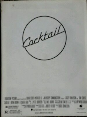 Cocktail Film Press Pack. Tom Cruise.