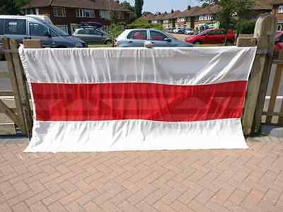 Large Vintage Belarus Flag, Sewn Cotton with Toggle & Rope (9' x 4½' - Ex Cond)