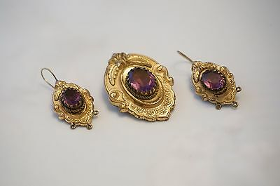 Antique Victorian Rolled Gold Jewelry Brooch & Earring Set Paste Amethyst Estate