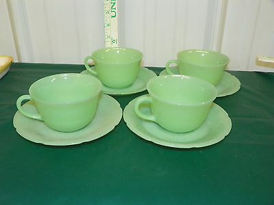 4 Vintage Fire King Jade-ite Jane Ray Coffee Tea Cups & Saucers 8 PCS Mint    L5