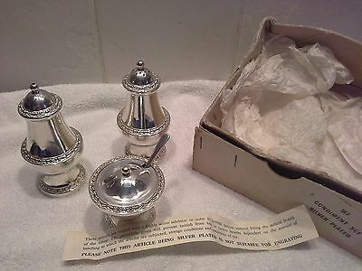 Vintage Lanthe Silver Plate Condiment Set With Box