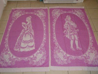 Rare NWT Vtg Pair Italy Bath Towels Colonial Gentleman & Lady Pink White Floral