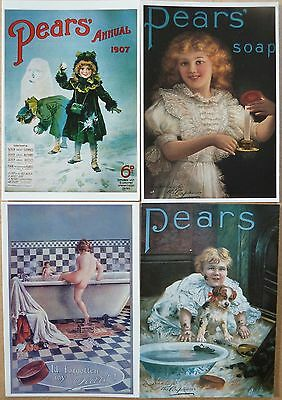 4 Pears Soap Advertising Postcards.
