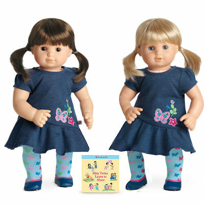 American Girl Bitty Baby Twins Girls Blond Brown Brunette Hair Blue Eyes DOLLS