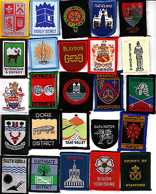 Boy Scout COUNTY & DISTRICT Badges x 25 inc Ext BRAMHALL WOODFORD