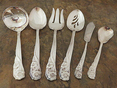 Oneida Trillia 6 Serving Pieces Spoon Gravy Fork Silverplate Flatware Lot F