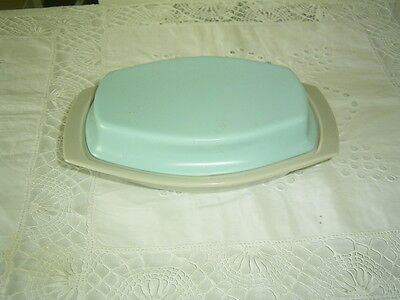 A Poole Pottery Twintone Sky Blue & Dove Grey Covered Butter Dish