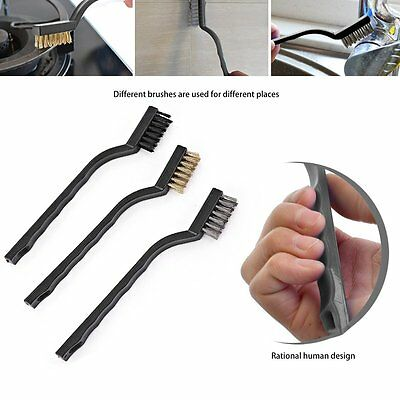 3Pcs/Set Stainless Steel Brass Nylon Wire Cleaning Brush Plastic Handle RS