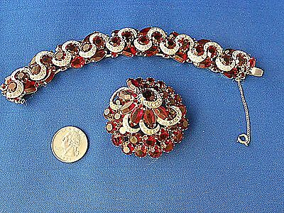 Vtg KRAMER OF NEW YORK Red & Clear Rhinestone Bracelet & Brooch Pin Silver-Tone