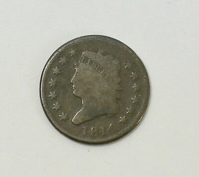 1814 Classic Head Large Cent US Coin Rare Early United States of America Lot #33