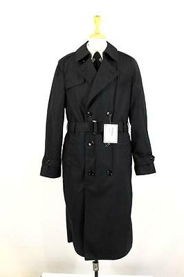 NEW mens black MILITARY ISSUE trench coat jacket belted cotton S 38 L