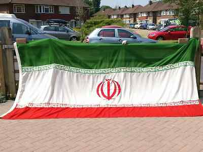 Large Vintage Iran Flag, Sewn Cotton with Toggle & Rope (12' x 6½' – Ex Cond)