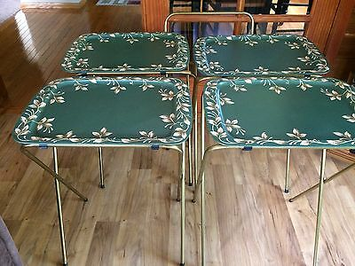 Set Of 4 Vintage Green Leaf Metal TV Trays With Legs & Stand