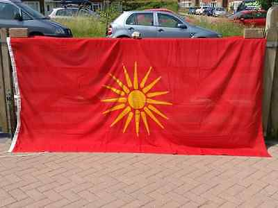 Large Vintage Macedonia Flag, Sewn Cotton with Toggle & Rope (9' x 4½' Ex Cond)