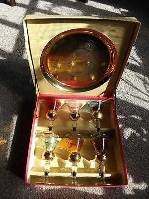 Set of 6 Old Sherry Glasses and Tray