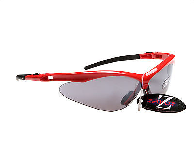 RayZor Uv400 Red Framed Smoked Mirrored Lens Cicket Wrap Sunglasses RRP£49