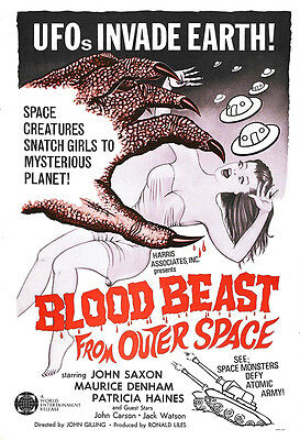 Blood Beast From Outer Space Movie Poster Print - 1965 - Sci-Fi - 1 Sheet Art