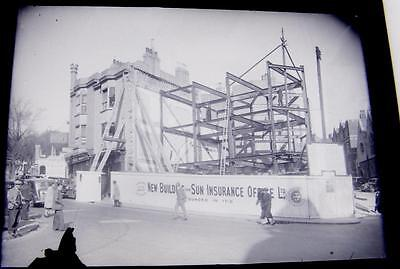 1930s commercial glass plate for postcard production,New Sun Insurance building