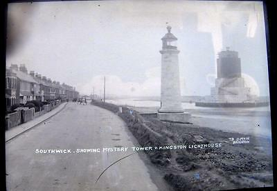 1930s glass plate for postcard production,Southwick lighthouse