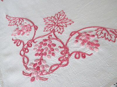 Vintage Tablecloth-Hand Embroidered-Pink Flowers-Lace Edge