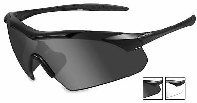 Wx Wiley X Vapor Issued Apel Sunglasses 2 Lens Smoke / Clear Black Frame