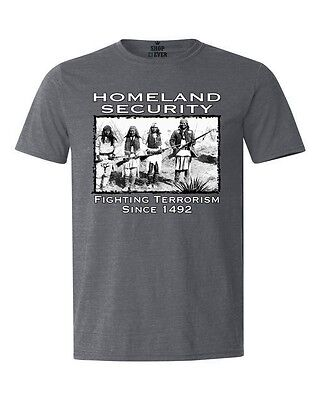 Home Land Security 1492 T-shirt Native American Indian Feathers Heather Shirts