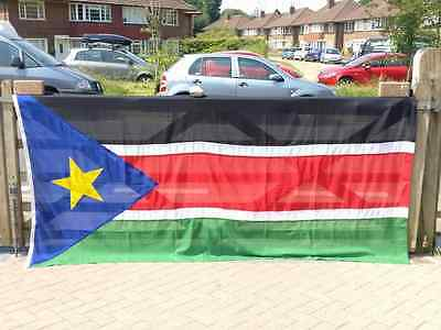 Large Vintage South Sudan Flag, Sewn Cotton + Toggle & Rope (9' x 4¼' Ex Cond)