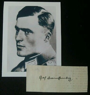 Claus Von Stauffenberg Autograph Clipping And Photograph Operation Valkyrie