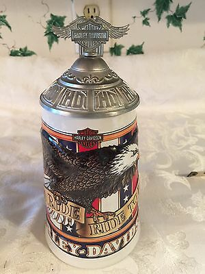 HARLEY DAVIDSON LIDDED STEIN MOTORCYCLES - SOAR WITH EAGLES  Live to Ride EUC
