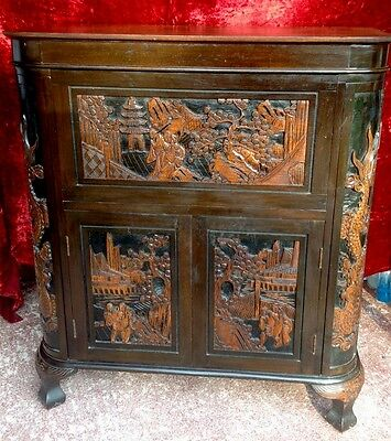 Oriental Chinese Drinks Cabinet Carved. Bar . Dragons