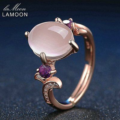LAMOON 100% Natural Oval Pink Rose Quartz+Purple Amethyst S925 Silver Ring RS