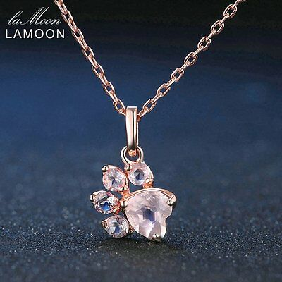 LAMOON Paw Shape 5*5.5mm Natural Pink Rose Quartz Link Chain Necklace NI027 RS