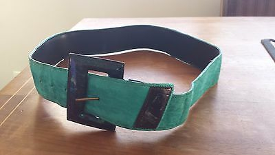 Belt Leather Turquoise Vintage 80s  Small