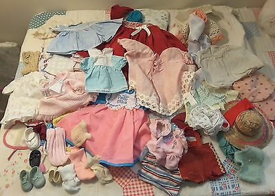 VTG 80 pc LOT Baby Doll Clothes Dresses Shoe Accessories Fits Small Medium DOLLS