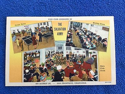Unused WWII USO Club Operated By The Salvation Army Linen Postcard San Francisco