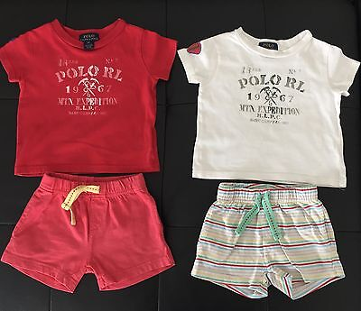 Ralph Lauren Baby 2 T-shirt Große 9 Monate + Shorts