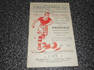 WORKINGTON  v  MANSFIELD TOWN  1953/4  DIVISION 3 NORTH ~ OCTOBER 31 *FREE POST*