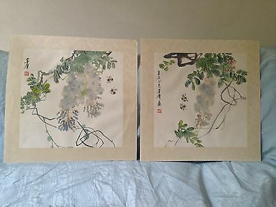 Fine Pair Antique Chinese Watercolours on paper