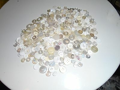 Lot of Vintage Buttons - mostly  white, or off white, medium an small