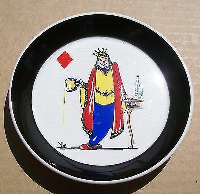 Vtg Wade England KING OF DIAMONDS COASTER Playing Cards Suits BEER STEIN Scarce