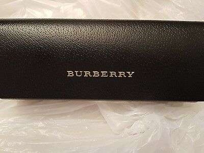 New BURBERRY Black Leather Hard Case Eyerglasses / Cleaning Cloth Authentic