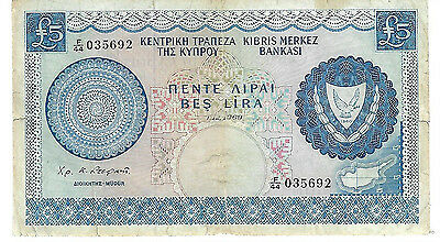 Cyprus 1969 Banknote Five Pounds Central Bank 7582