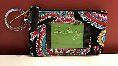NWT Vera Bradley Parisian Paisley Zip ID Case Holder In Signature Key Ring NEW!