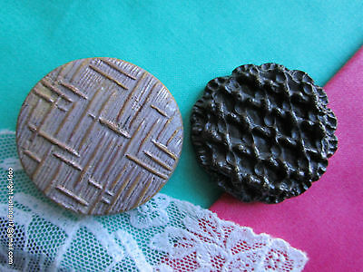 2796-I – Two Fun Molded Wood Conventional Design Large Vintage Buttons