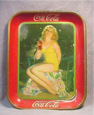 Vintage 1932 Coca Cola Coke Tray American Art Works Girl in Yellow Bathing Suit