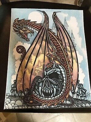 Dragon Castle Skull Art 11x14""