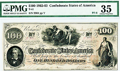 1862 $100 Confederate States Of America T-41 - Choice Very Fine 35 Pmg